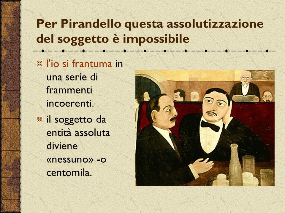 Per Pirandello questa assolutizzazione del soggetto è impossibile l'io si frantuma in una serie di frammenti incoerenti. il soggetto da entità assolut