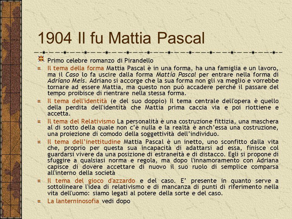 1904 Il fu Mattia Pascal Primo celebre romanzo di Pirandello Il tema della forma Mattia Pascal è in una forma, ha una famiglia e un lavoro, ma il Caso