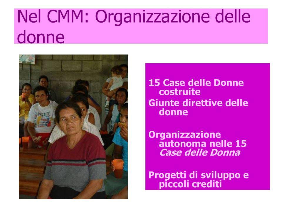 Nel CMM: Organizzazione delle donne 15 Case delle Donne costruite Giunte direttive delle donne Organizzazione autonoma nelle 15 Case delle Donna Progetti di sviluppo e piccoli crediti