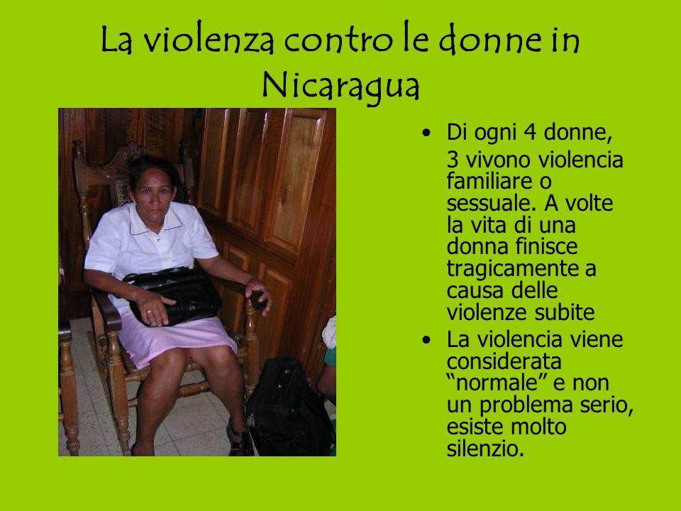 La violenza contro le donne in Nicaragua Di ogni 4 donne, 3 vivono violencia familiare o sessuale.