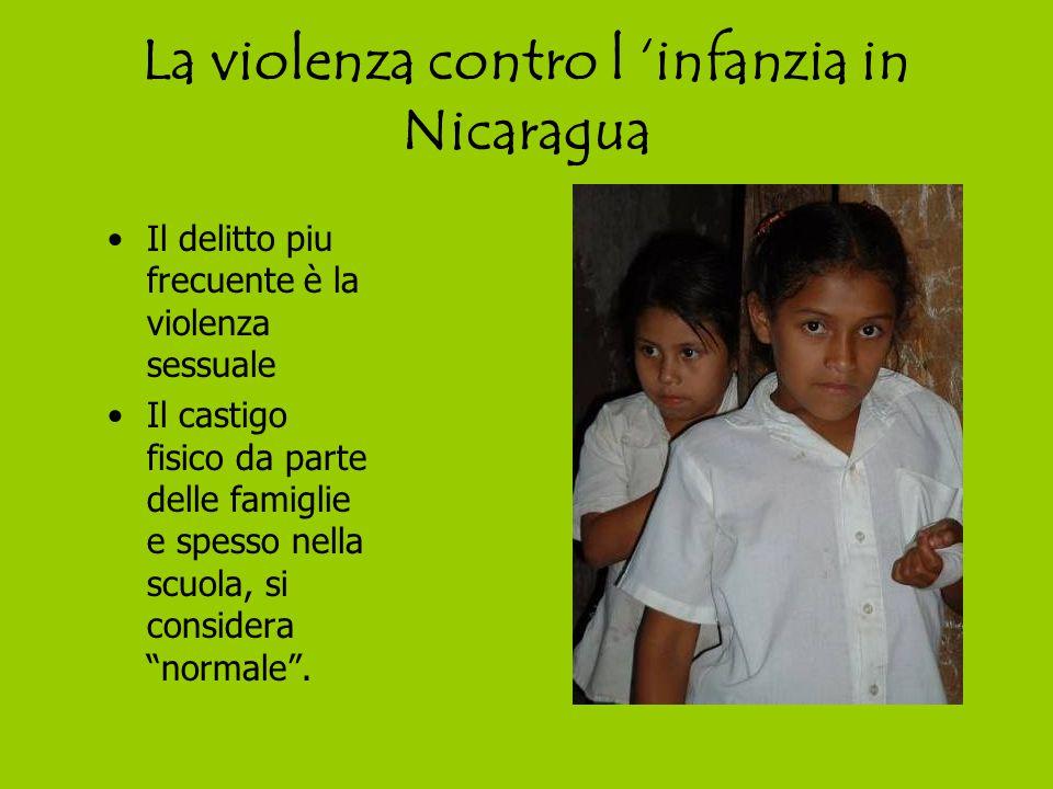 La violenza contro l 'infanzia in Nicaragua Il delitto piu frecuente è la violenza sessuale Il castigo fisico da parte delle famiglie e spesso nella scuola, si considera normale .