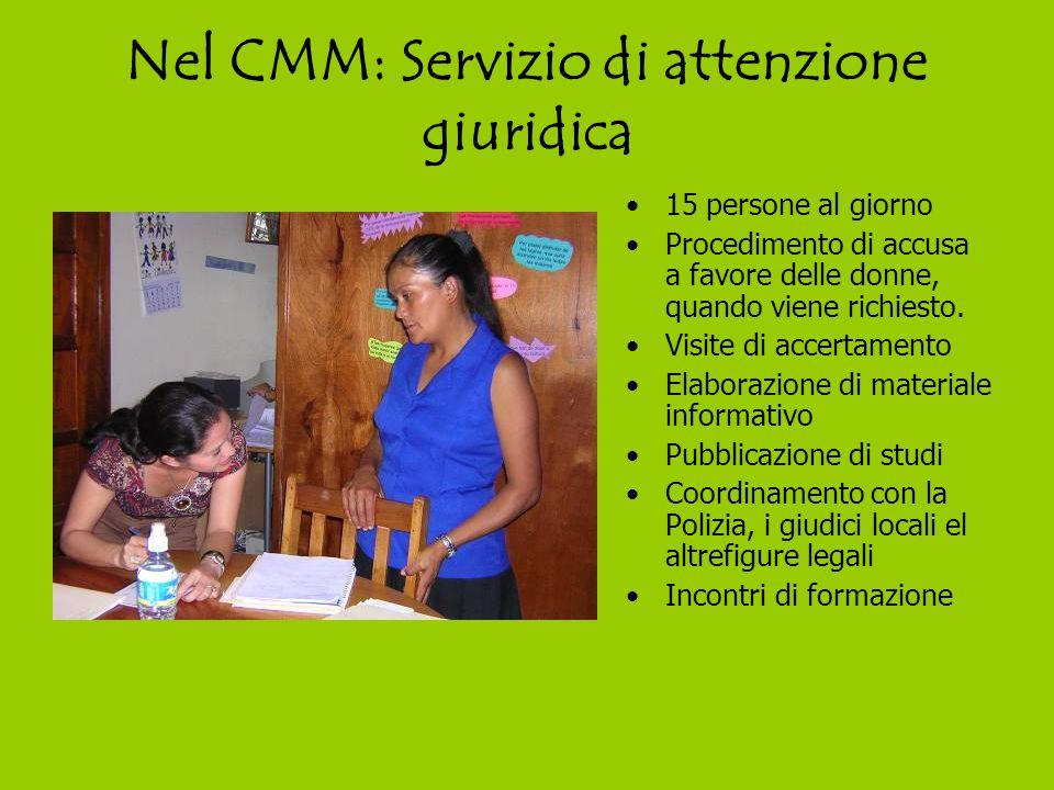 Nel CMM: Servizio di attenzione giuridica 15 persone al giorno Procedimento di accusa a favore delle donne, quando viene richiesto.