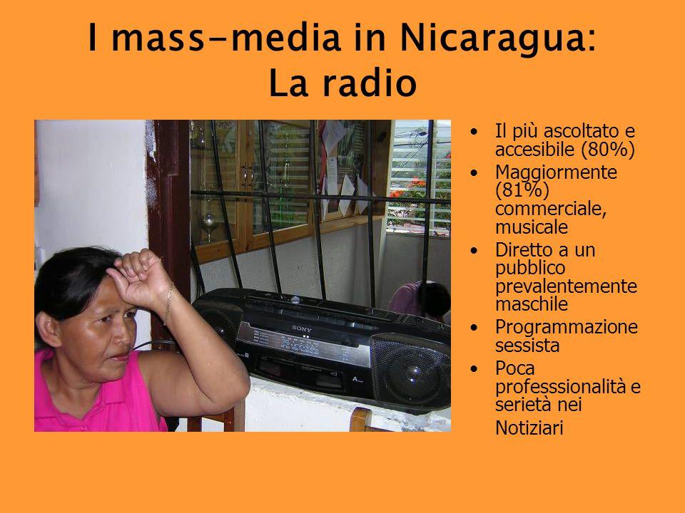 I mass-media in Nicaragua: La radio Il più ascoltato e accesibile (80%) Maggiormente (81%) commerciale, musicale Diretto a un pubblico prevalentemente maschile Programmazione sessista Poca professsionalità e serietà nei Notiziari