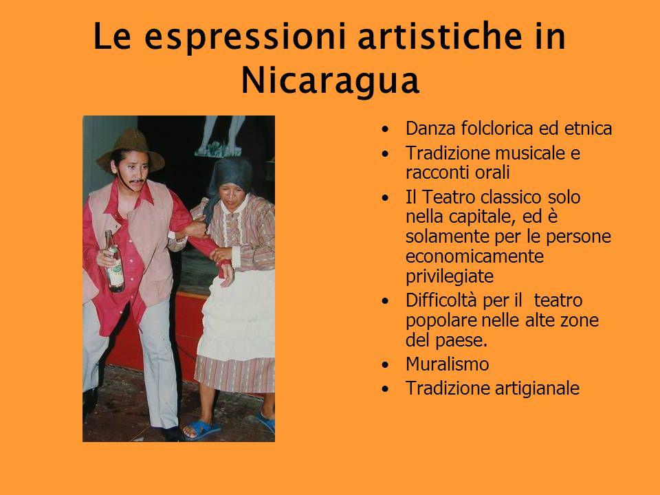 Le espressioni artistiche in Nicaragua Danza folclorica ed etnica Tradizione musicale e racconti orali Il Teatro classico solo nella capitale, ed è solamente per le persone economicamente privilegiate Difficoltà per il teatro popolare nelle alte zone del paese.