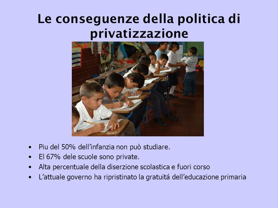 Le conseguenze della politica di privatizzazione Piu del 50% dell'infanzia non può studiare.