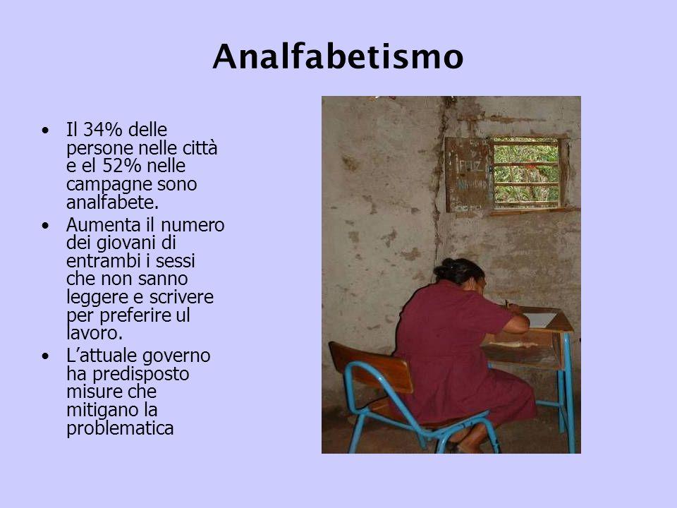 Analfabetismo Il 34% delle persone nelle città e el 52% nelle campagne sono analfabete.