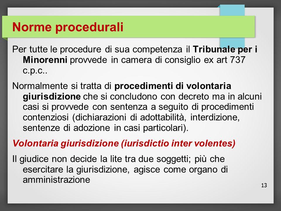 13 Norme procedurali Per tutte le procedure di sua competenza il Tribunale per i Minorenni provvede in camera di consiglio ex art 737 c.p.c.. Normalme