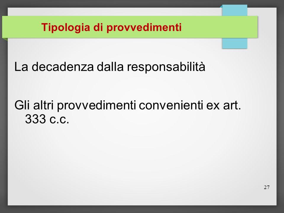Tipologia di provvedimenti La decadenza dalla responsabilità Gli altri provvedimenti convenienti ex art. 333 c.c. 27