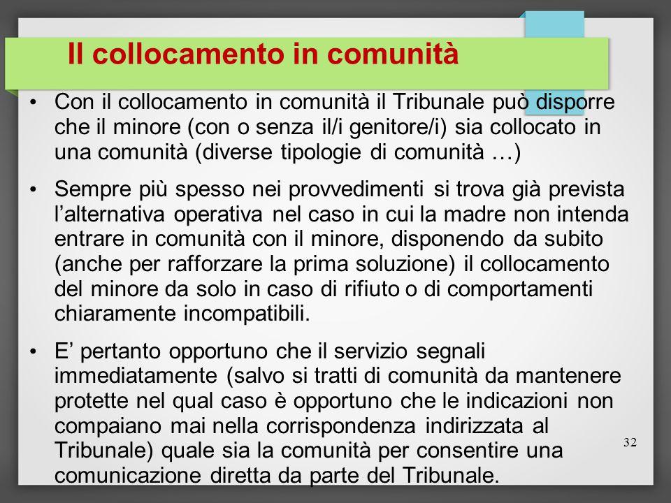 Il collocamento in comunità Con il collocamento in comunità il Tribunale può disporre che il minore (con o senza il/i genitore/i) sia collocato in una