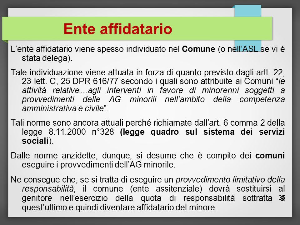 35 Ente affidatario L'ente affidatario viene spesso individuato nel Comune (o nell'ASL se vi è stata delega). Tale individuazione viene attuata in for
