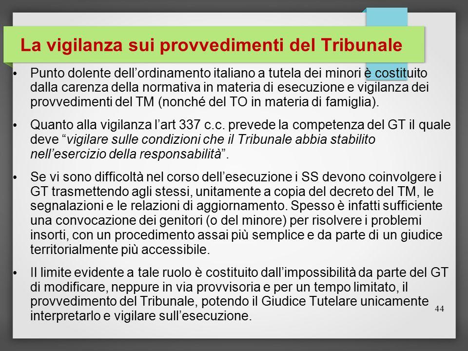 La vigilanza sui provvedimenti del Tribunale Punto dolente dell'ordinamento italiano a tutela dei minori è costituito dalla carenza della normativa in