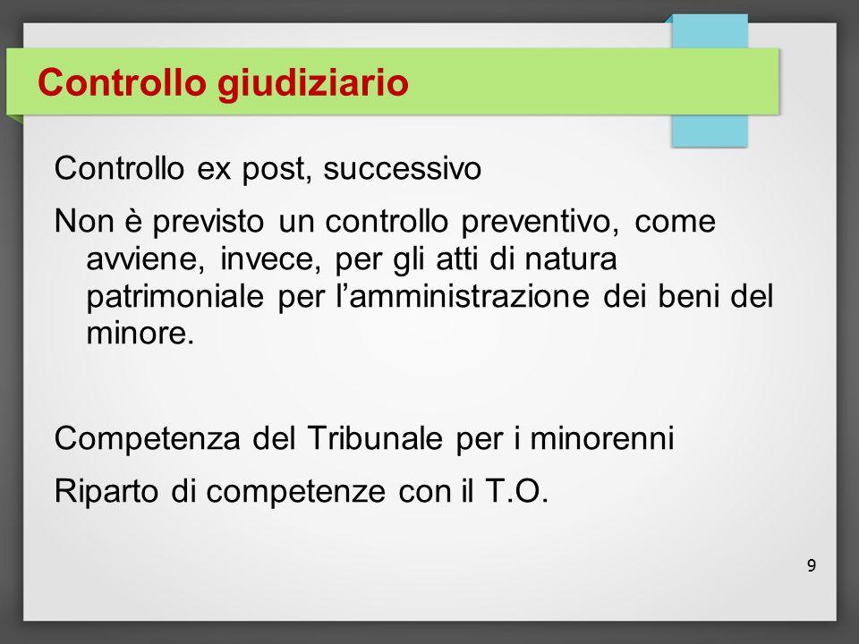 9 Controllo giudiziario Controllo ex post, successivo Non è previsto un controllo preventivo, come avviene, invece, per gli atti di natura patrimonial