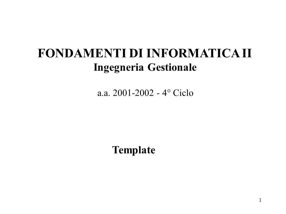 1 FONDAMENTI DI INFORMATICA II Ingegneria Gestionale a.a. 2001-2002 - 4° Ciclo Template