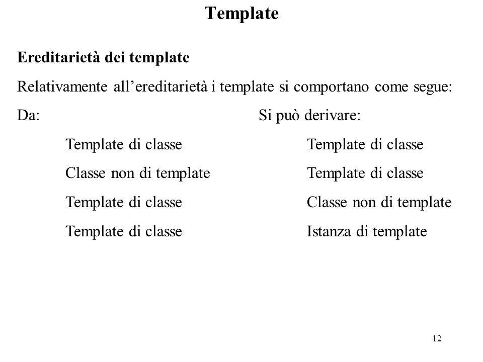 12 Template Ereditarietà dei template Relativamente all'ereditarietà i template si comportano come segue: Da:Si può derivare:Template di classe Classe non di templateTemplate di classe Template di classeClasse non di template Template di classeIstanza di template