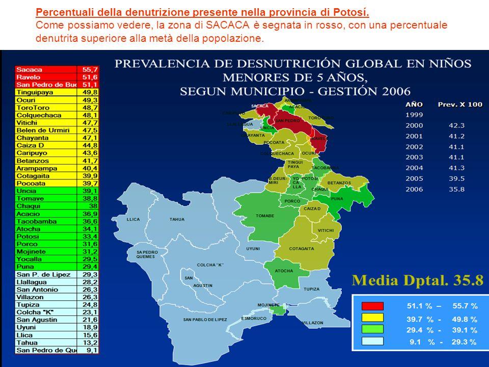 Percentuali della denutrizione presente nella provincia di Potosí. Come possiamo vedere, la zona di SACACA è segnata in rosso, con una percentuale den