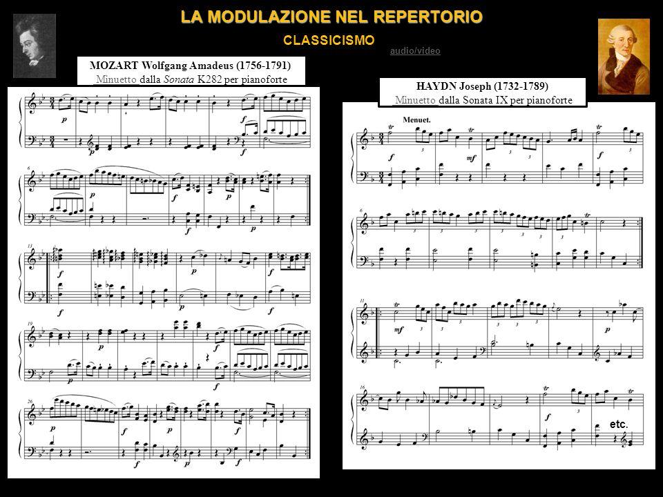 LA MODULAZIONE NEL REPERTORIO CLASSICISMO MOZART Wolfgang Amadeus (1756-1791) Minuetto Minuetto dalla Sonata K282 per pianoforte etc. HAYDN Joseph (17