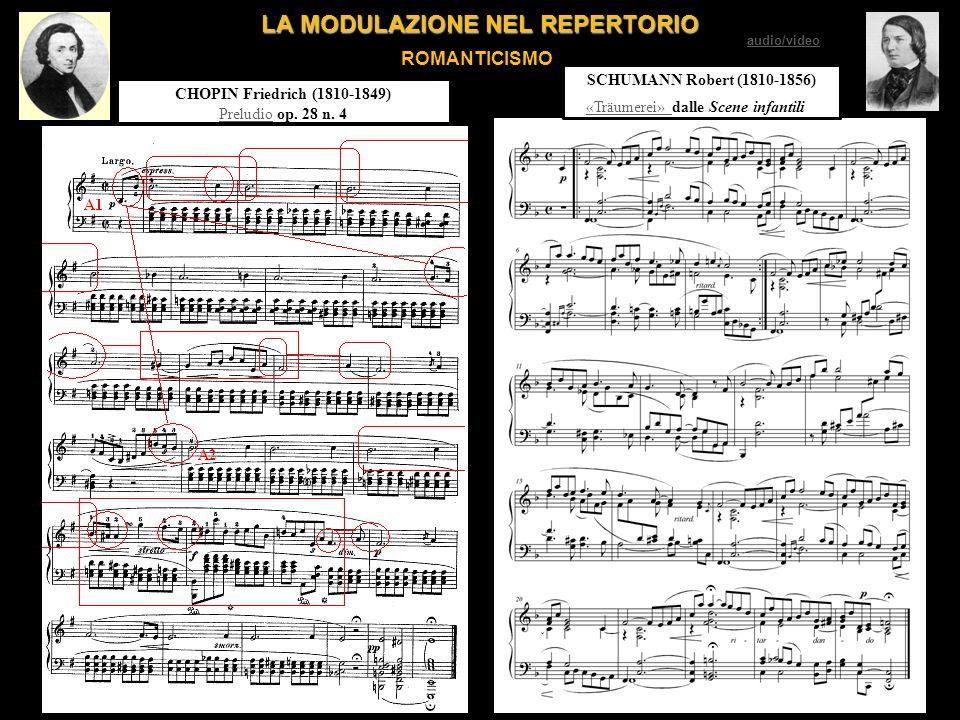 LA MODULAZIONE NEL REPERTORIO ROMANTICISMO CHOPIN Friedrich (1810-1849) PreludioPreludio op. 28 n. 4 SCHUMANN Robert (1810-1856) «Träumerei» «Träumere
