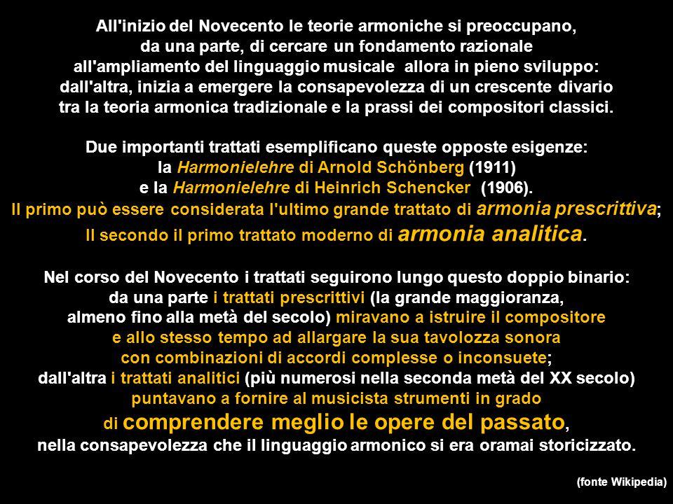 All'inizio del Novecento le teorie armoniche si preoccupano, da una parte, di cercare un fondamento razionale all'ampliamento del linguaggio musicale