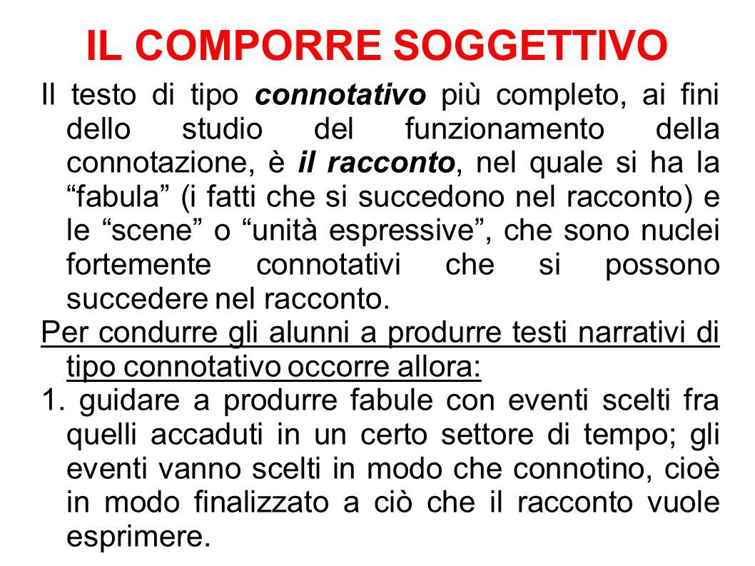 IL COMPORRE SOGGETTIVO Il testo di tipo connotativo più completo, ai fini dello studio del funzionamento della connotazione, è il racconto, nel quale