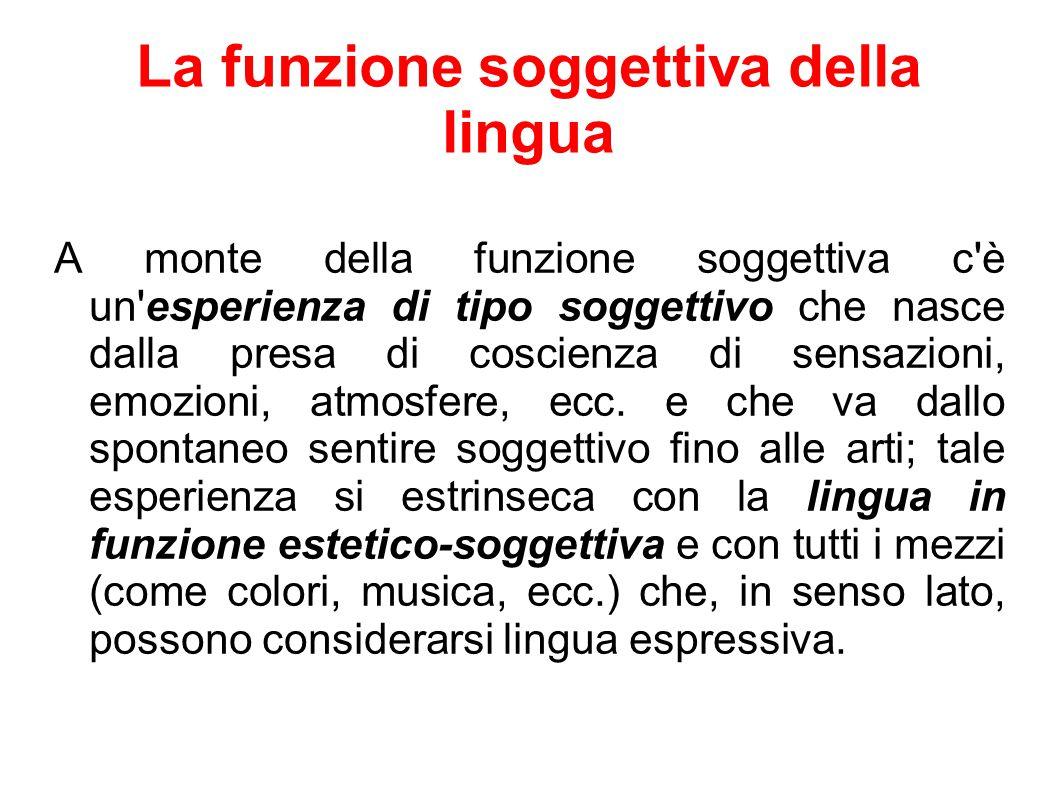 La funzione soggettiva della lingua A monte della funzione soggettiva c è un esperienza di tipo soggettivo che nasce dalla presa di coscienza di sensazioni, emozioni, atmosfere, ecc.