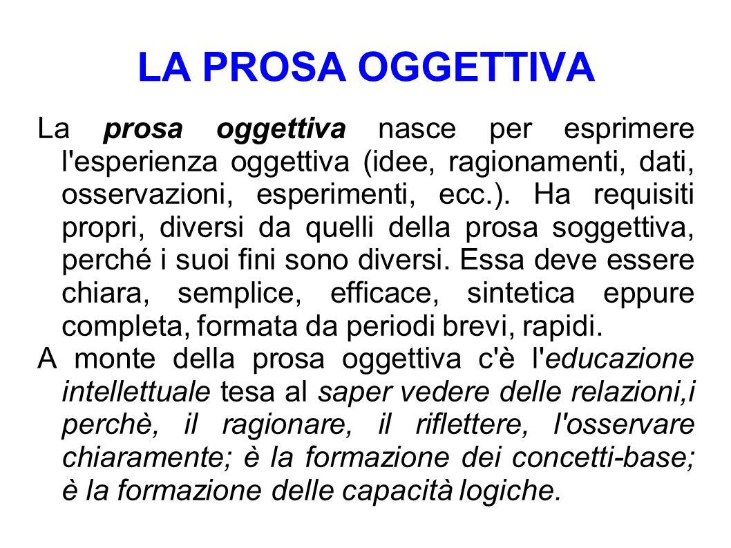 LA PROSA OGGETTIVA La prosa oggettiva nasce per esprimere l'esperienza oggettiva (idee, ragionamenti, dati, osservazioni, esperimenti, ecc.). Ha requi