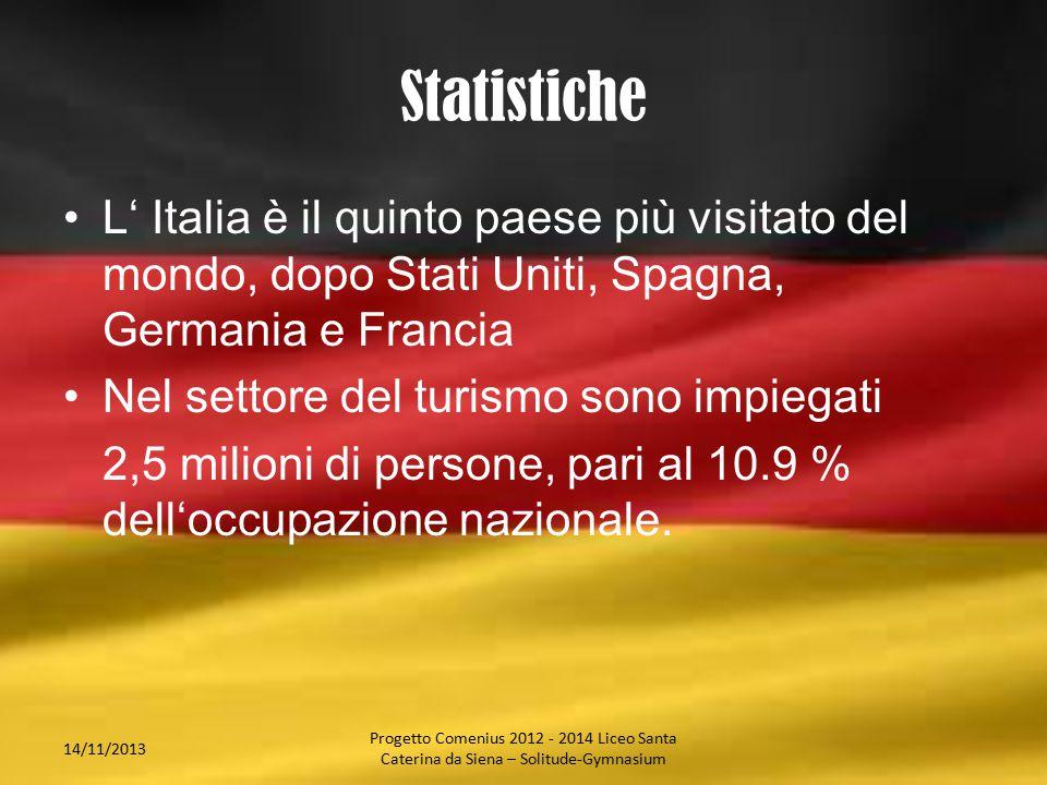 Statistiche L' Italia è il quinto paese più visitato del mondo, dopo Stati Uniti, Spagna, Germania e Francia Nel settore del turismo sono impiegati 2,5 milioni di persone, pari al 10.9 % dell'occupazione nazionale.