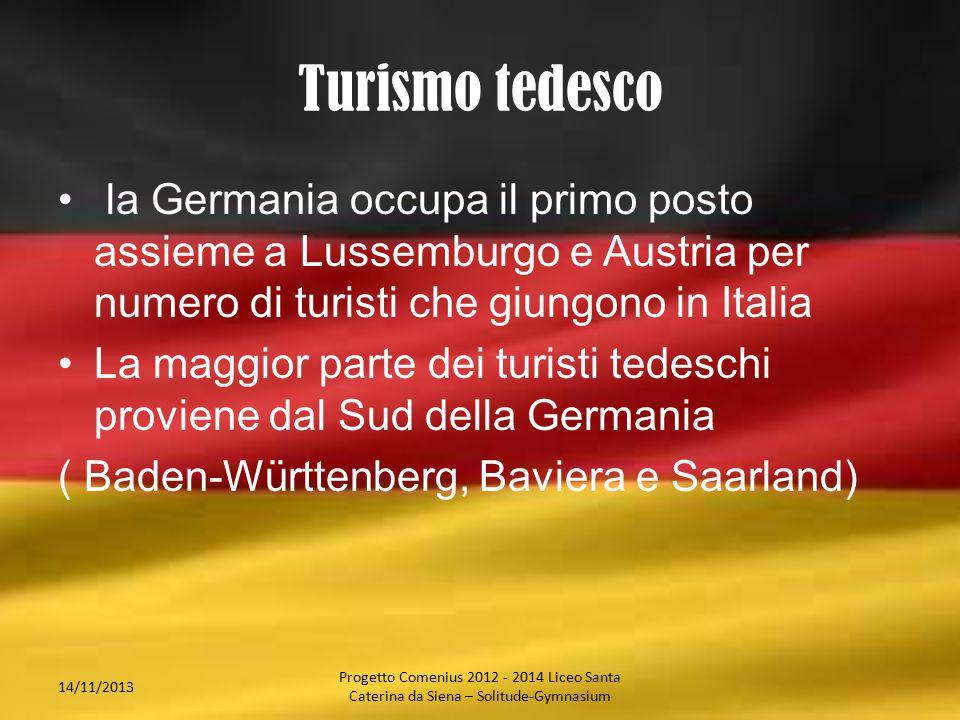 Turismo tedesco la Germania occupa il primo posto assieme a Lussemburgo e Austria per numero di turisti che giungono in Italia La maggior parte dei tu