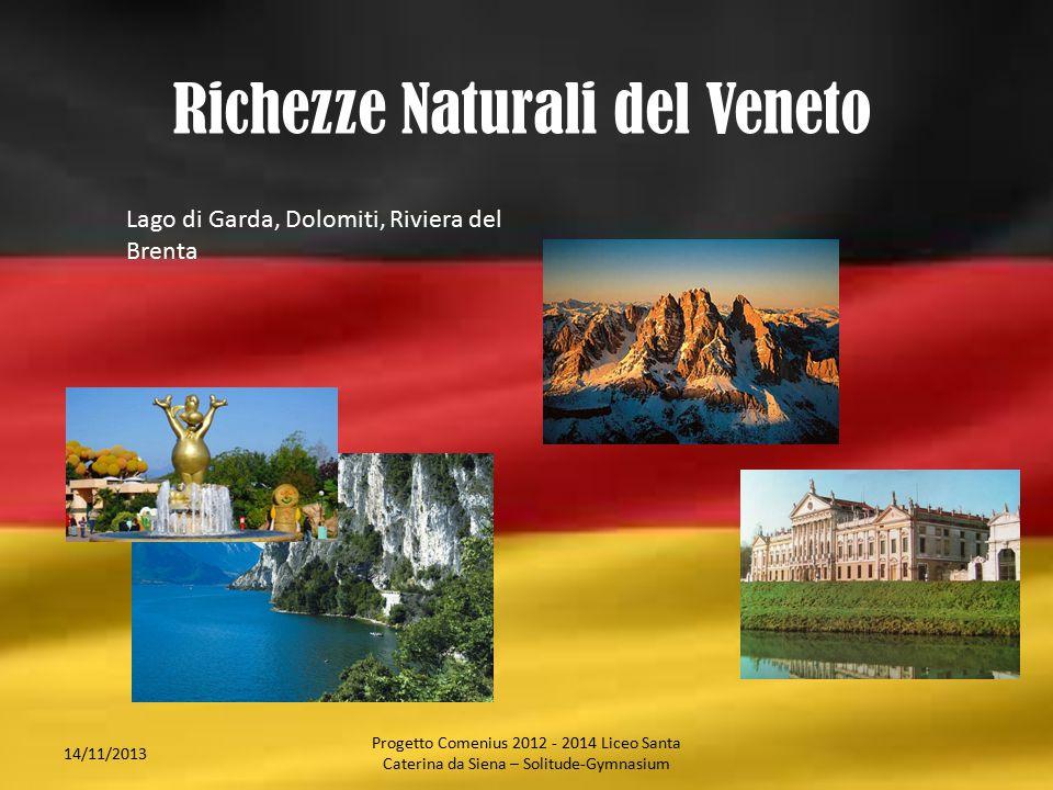 Richezze Naturali del Veneto 14/11/2013 Lago di Garda, Dolomiti, Riviera del Brenta Progetto Comenius 2012 - 2014 Liceo Santa Caterina da Siena – Soli