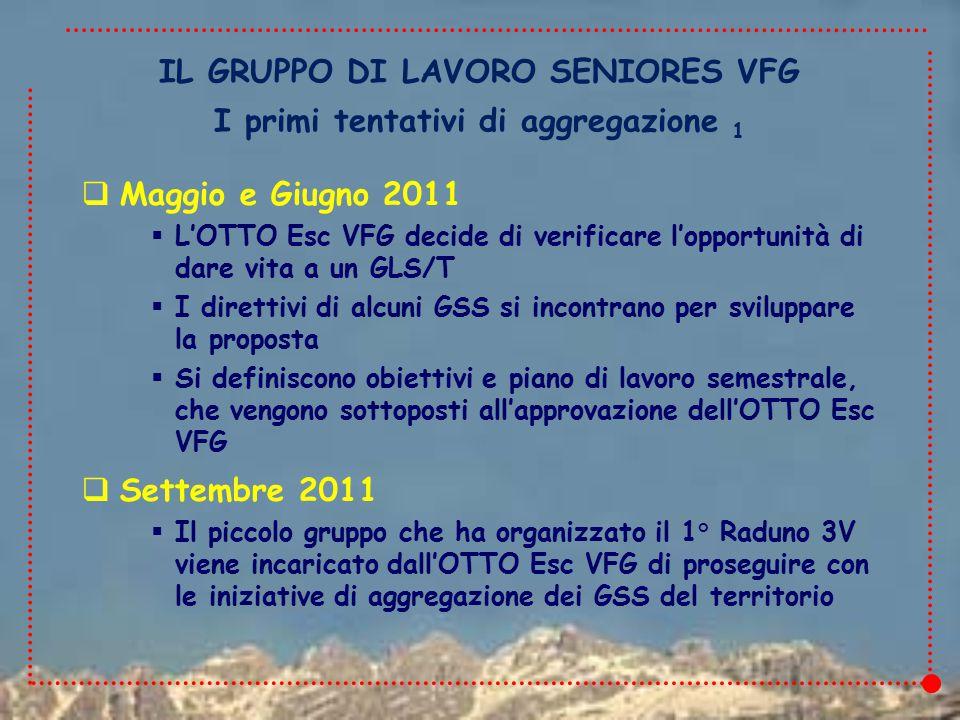 IL GRUPPO DI LAVORO SENIORES VFG  Maggio e Giugno 2011  L'OTTO Esc VFG decide di verificare l'opportunità di dare vita a un GLS/T  I direttivi di alcuni GSS si incontrano per sviluppare la proposta  Si definiscono obiettivi e piano di lavoro semestrale, che vengono sottoposti all'approvazione dell'OTTO Esc VFG  Settembre 2011  Il piccolo gruppo che ha organizzato il 1° Raduno 3V viene incaricato dall'OTTO Esc VFG di proseguire con le iniziative di aggregazione dei GSS del territorio I primi tentativi di aggregazione 1