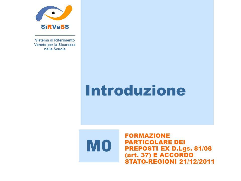 Introduzione SiRVeSS Sistema di Riferimento Veneto per la Sicurezza nelle Scuole M0 FORMAZIONE PARTICOLARE DEI PREPOSTI EX D.Lgs. 81/08 (art. 37) E AC