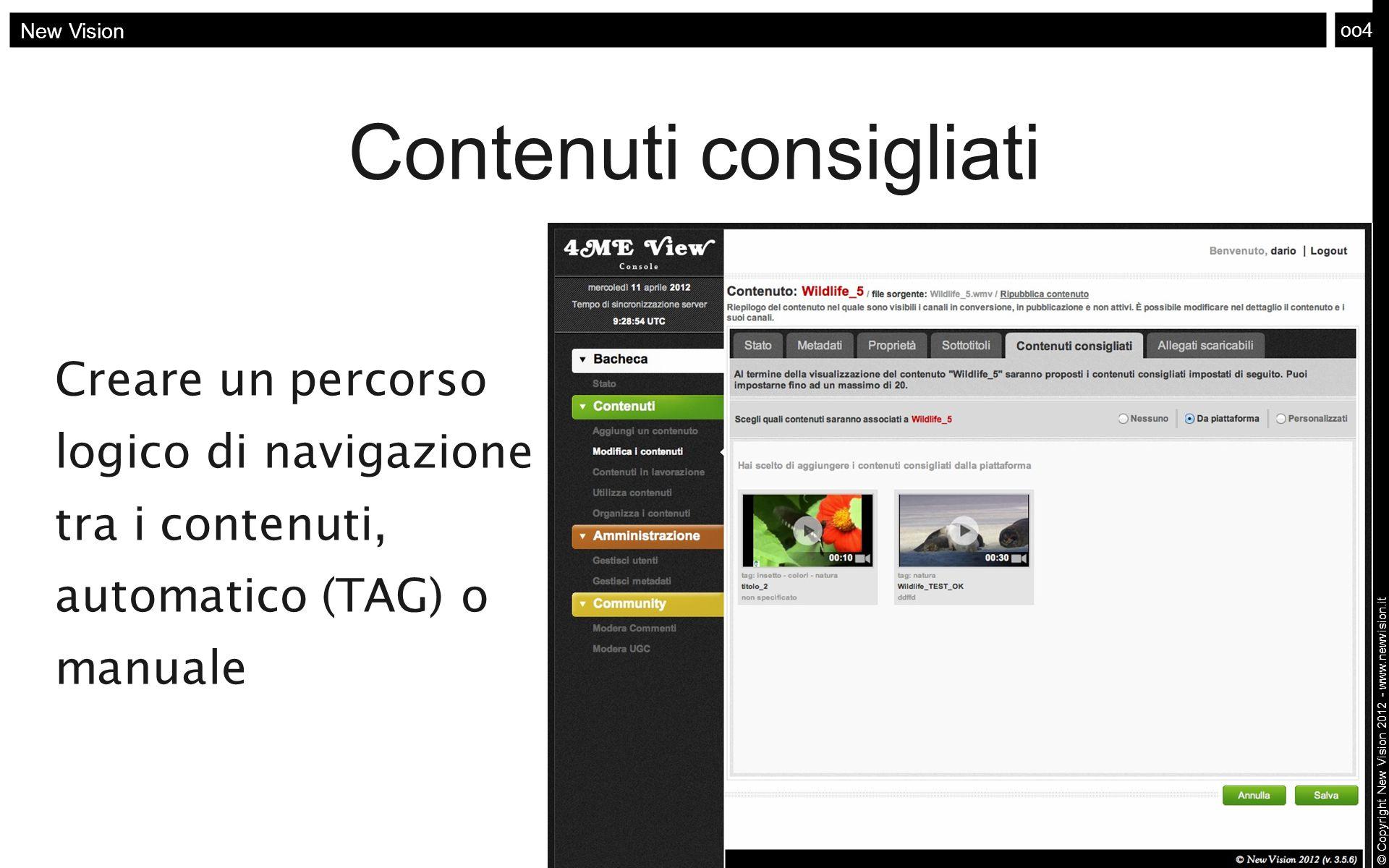 oo4 New Vision © Copyright New Vision 2012 - www.newvision.it Contenuti consigliati Creare un percorso logico di navigazione tra i contenuti, automati