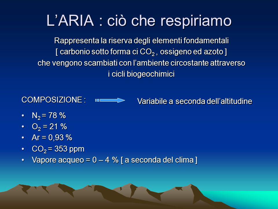 L'ARIA : ciò che respiriamo Rappresenta la riserva degli elementi fondamentali [ carbonio sotto forma ci CO 2, ossigeno ed azoto ] che vengono scambia