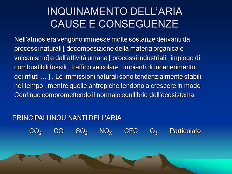 INQUINAMENTO DELL'ARIA CAUSE E CONSEGUENZE Nell'atmosfera vengono immesse molte sostanze derivanti da processi naturali [ decomposizione della materia