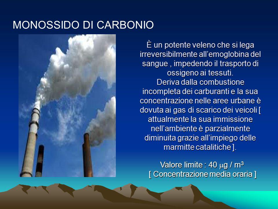 MONOSSIDO DI CARBONIO È un potente veleno che si lega irreversibilmente all'emoglobina del sangue, impedendo il trasporto di ossigeno ai tessuti. Deri