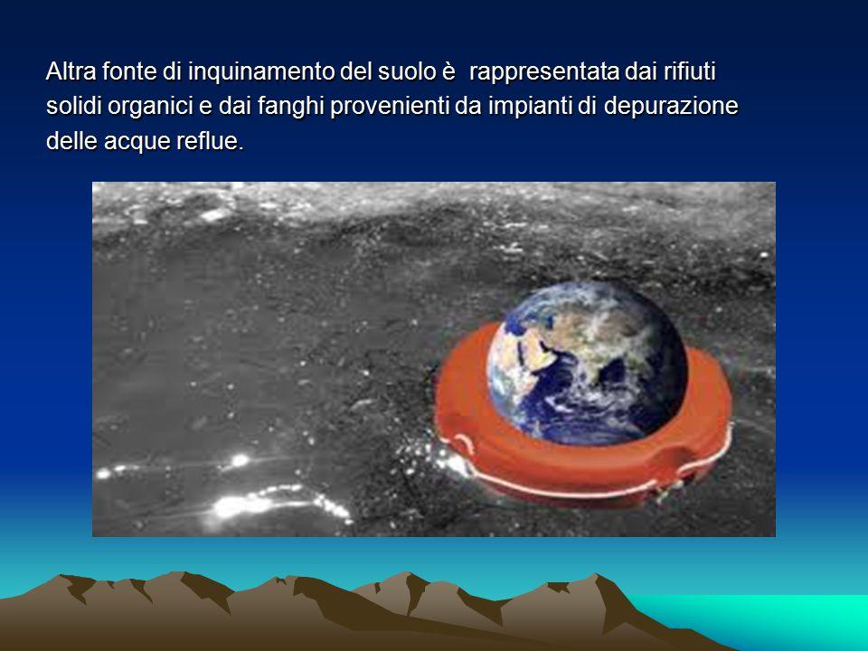Altra fonte di inquinamento del suolo è rappresentata dai rifiuti solidi organici e dai fanghi provenienti da impianti di depurazione delle acque refl