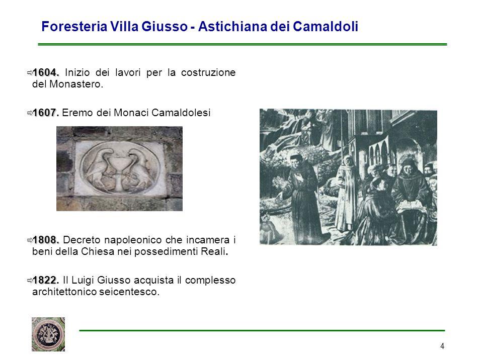 4 Foresteria Villa Giusso - Astichiana dei Camaldoli  1604.  1604. Inizio dei lavori per la costruzione del Monastero.  1607  1607. Eremo dei Mona