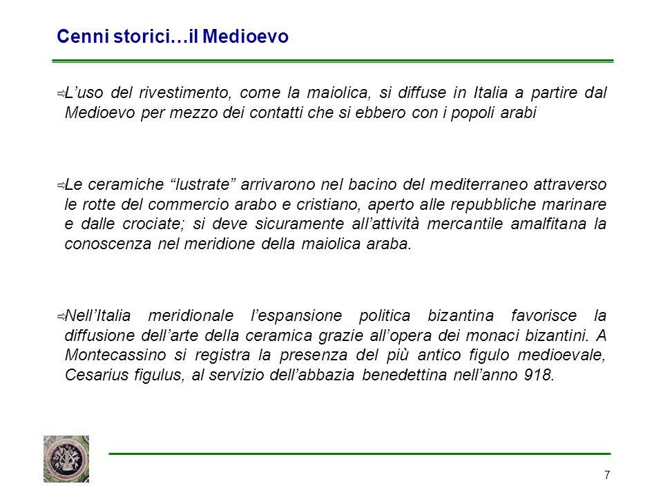 7 Cenni storici…il Medioevo  L'uso del rivestimento, come la maiolica, si diffuse in Italia a partire dal Medioevo per mezzo dei contatti che si ebbe