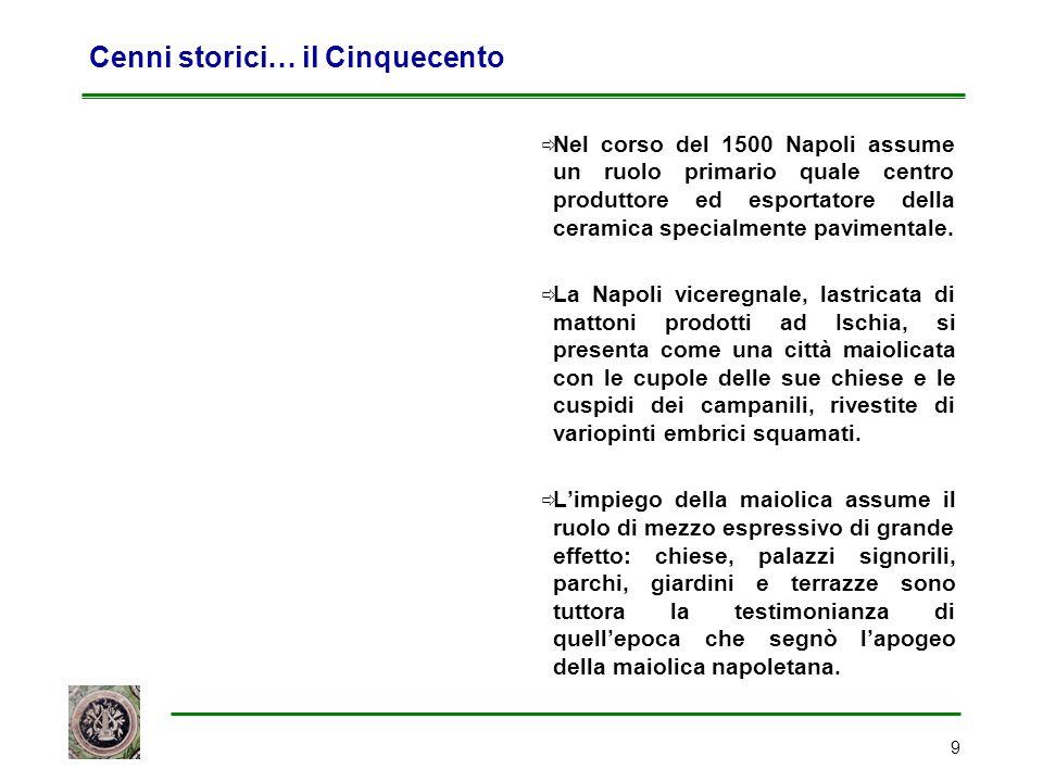 9 Cenni storici… il Cinquecento  Nel corso del 1500 Napoli assume un ruolo primario quale centro produttore ed esportatore della ceramica specialment