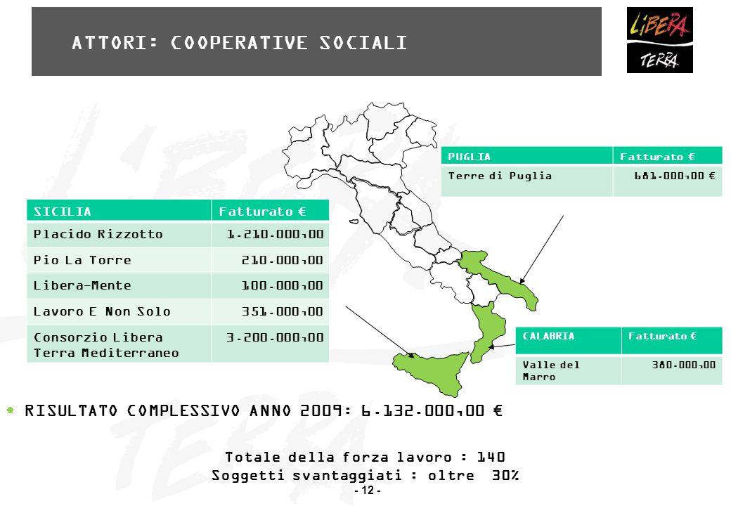 - 12 - ATTORI: COOPERATIVE SOCIALI  RISULTATO COMPLESSIVO ANNO 2009: 6.132.000,00 € SICILIAFatturato € Placido Rizzotto 1.210.000,00 Pio La Torre 210.000,00 Libera-Mente 100.000,00 Lavoro E Non Solo 351.000,00 Consorzio Libera Terra Mediterraneo 3.200.000,00 PUGLIAFatturato € Terre di Puglia 681.000,00 € CALABRIAFatturato € Valle del Marro 380.000,00 Totale della forza lavoro : 140 Soggetti svantaggiati : oltre 30%