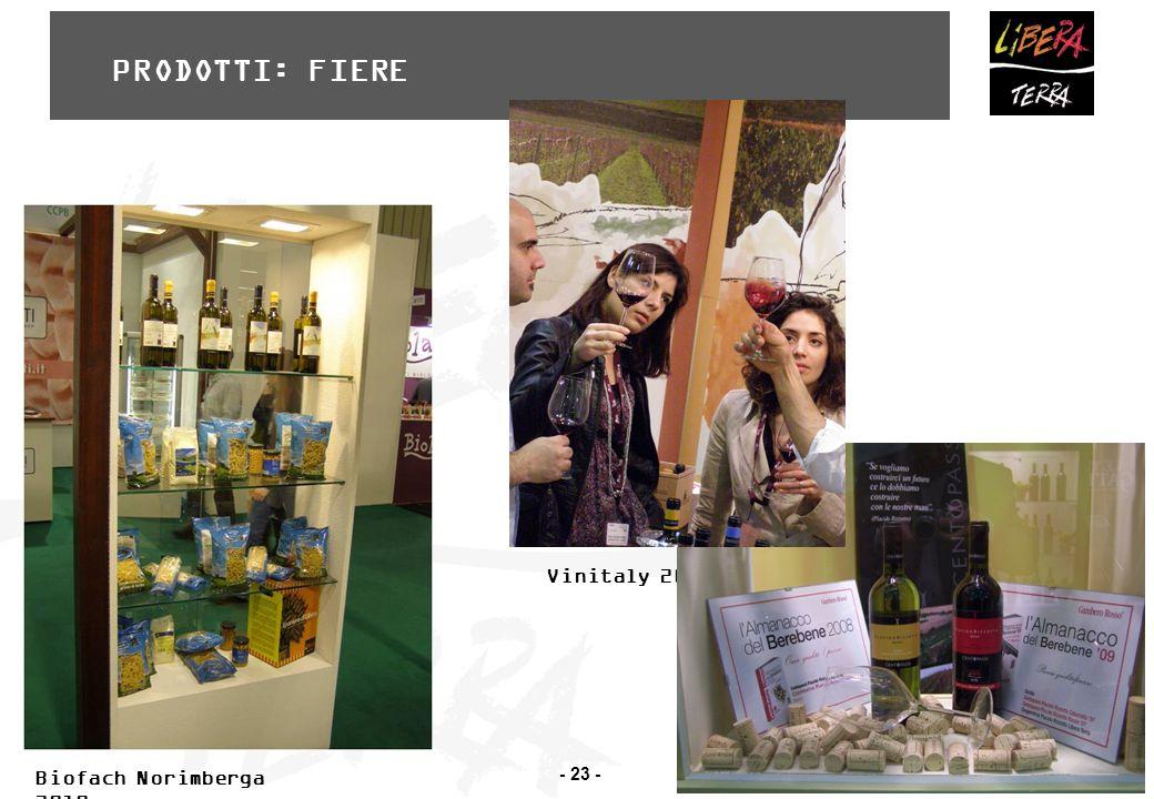 - 23 - Vinitaly 2011 Biofach Norimberga 2010 PRODOTTI: FIERE