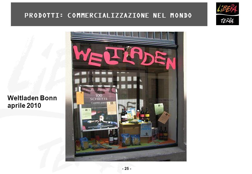 - 25 - PRODOTTI: COMMERCIALIZZAZIONE NEL MONDO Weltladen Bonn aprile 2010