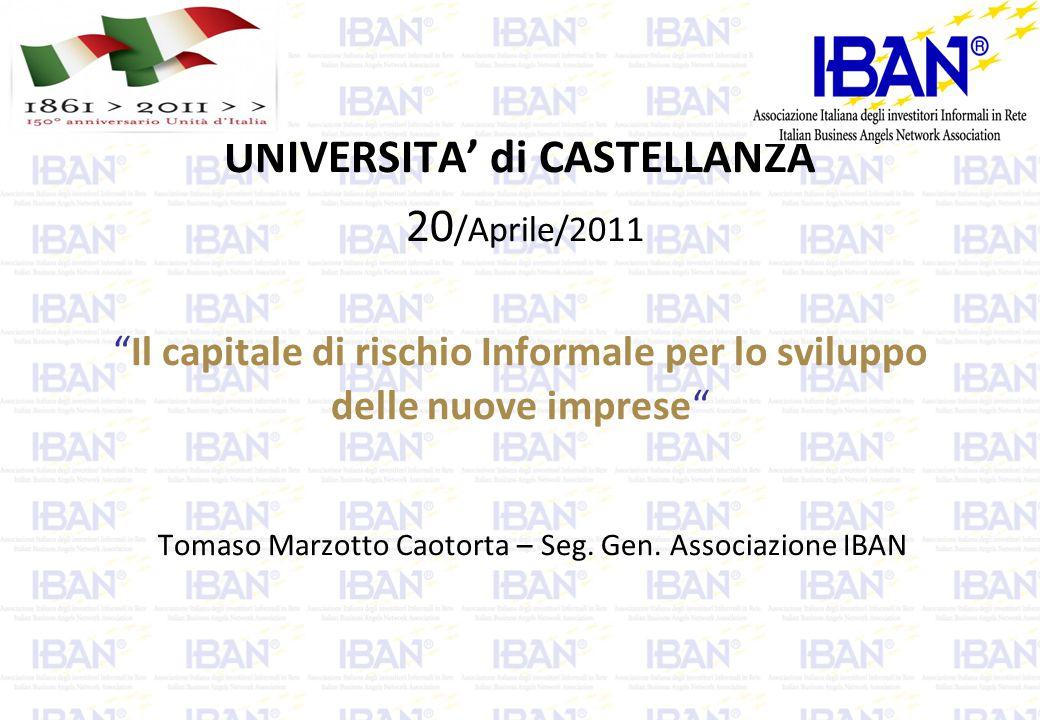 UNIVERSITA' di CASTELLANZA 20 /Aprile/2011 Il capitale di rischio Informale per lo sviluppo delle nuove imprese Tomaso Marzotto Caotorta – Seg.