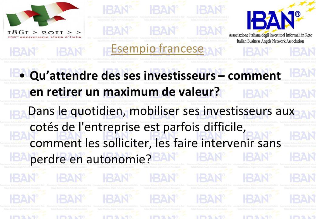 Esempio francese Qu'attendre des ses investisseurs – comment en retirer un maximum de valeur.
