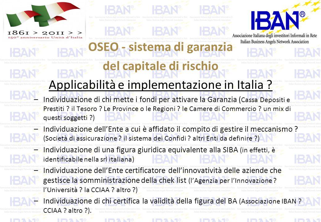 OSEO - sistema di garanzia del capitale di rischio Applicabilità e implementazione in Italia .