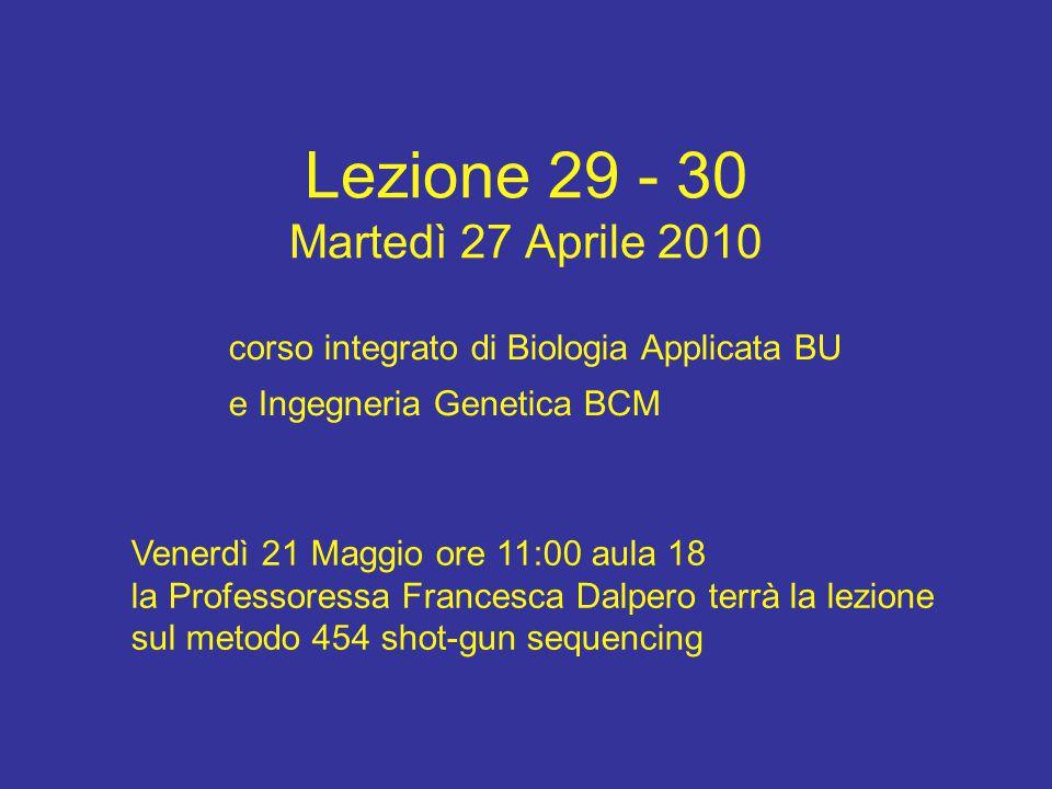 Lezione 29 - 30 Martedì 27 Aprile 2010 corso integrato di Biologia Applicata BU e Ingegneria Genetica BCM Venerdì 21 Maggio ore 11:00 aula 18 la Profe