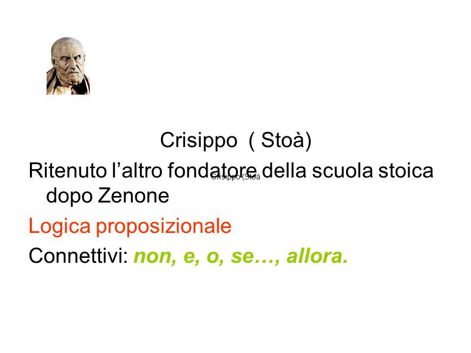 Crisippo ( Stoà) Ritenuto l'altro fondatore della scuola stoica dopo Zenone Logica proposizionale Connettivi: non, e, o, se…, allora. Crisippo (Stoà