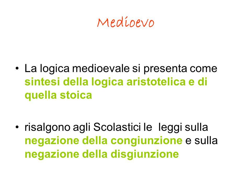 Medioevo La logica medioevale si presenta come sintesi della logica aristotelica e di quella stoica risalgono agli Scolastici le leggi sulla negazione della congiunzione e sulla negazione della disgiunzione