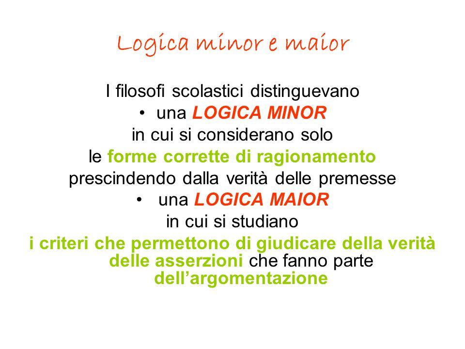 Logica minor e maior I filosofi scolastici distinguevano una LOGICA MINOR in cui si considerano solo le forme corrette di ragionamento prescindendo da