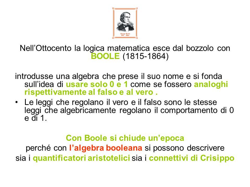 Nell'Ottocento la logica matematica esce dal bozzolo con BOOLE (1815-1864) introdusse una algebra che prese il suo nome e si fonda sull'idea di usare solo 0 e 1 come se fossero analoghi rispettivamente al falso e al vero.