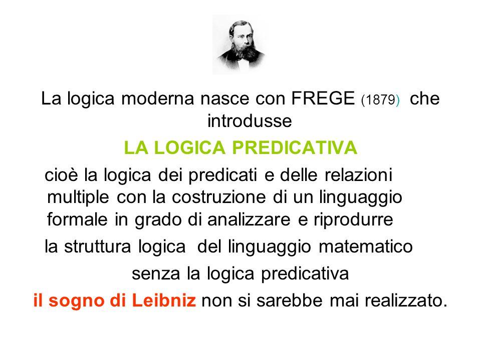 La logica moderna nasce con FREGE (1879) che introdusse LA LOGICA PREDICATIVA cioè la logica dei predicati e delle relazioni multiple con la costruzione di un linguaggio formale in grado di analizzare e riprodurre la struttura logica del linguaggio matematico senza la logica predicativa il sogno di Leibniz non si sarebbe mai realizzato.